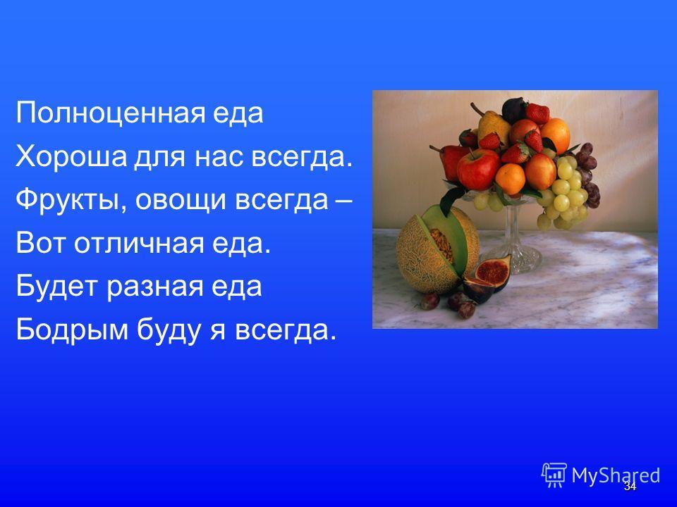 34 Полноценная еда Хороша для нас всегда. Фрукты, овощи всегда – Вот отличная еда. Будет разная еда Бодрым буду я всегда.