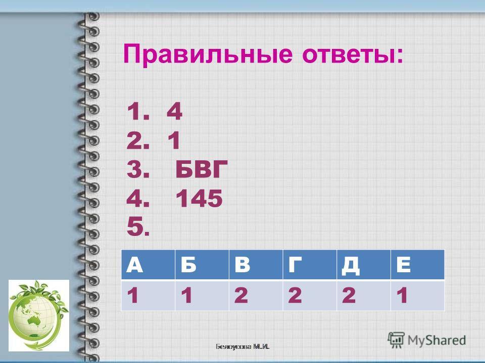 Правильные ответы: 1. 4 2. 1 3. БВГ 4. 145 АБВГДЕ 112221 5.5.