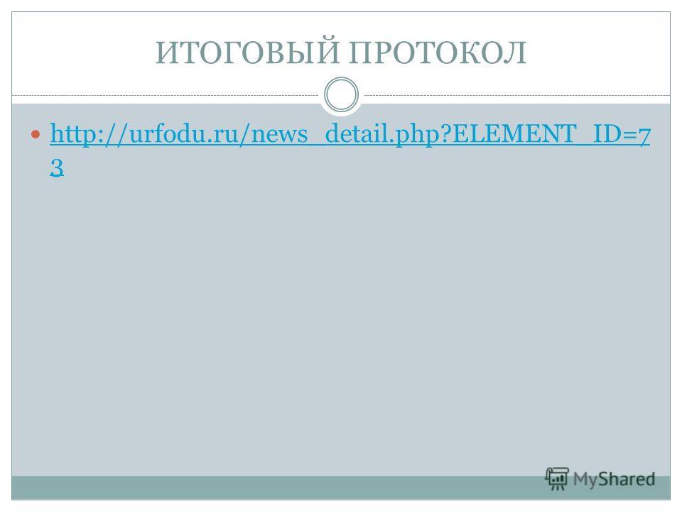 ИТОГОВЫЙ ПРОТОКОЛ http://urfodu.ru/news_detail.php?ELEMENT_ID=7 3 http://urfodu.ru/news_detail.php?ELEMENT_ID=7 3