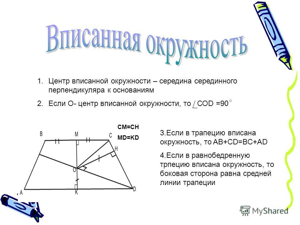 1.Центр вписанной окружности – середина серединного перпендикуляра к основаниям 2.Если О- центр вписанной окружности, то СОD =90 3.Если в трапецию вписана окружность, то AB+CD=BC+AD 4.Если в равнобедренную трпецию вписана окружность, то боковая сторо