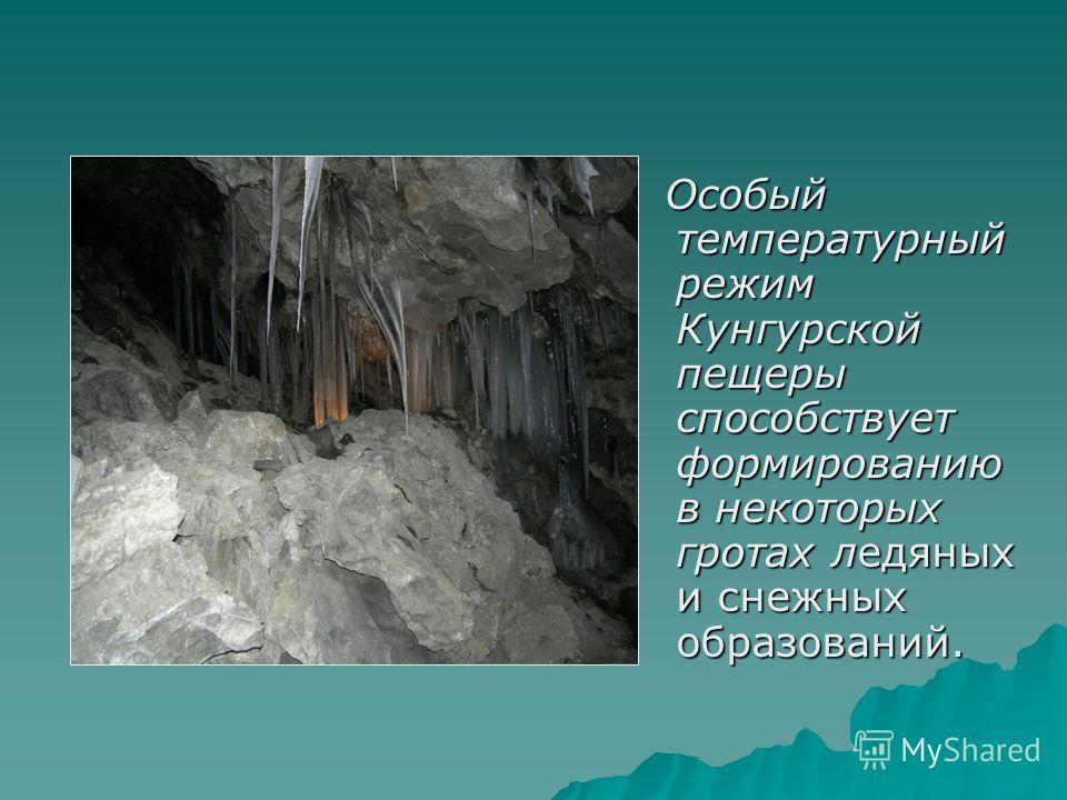 Особый температурный режим Кунгурской пещеры способствует формированию в некоторых гротах ледяных и снежных образований. Особый температурный режим Кунгурской пещеры способствует формированию в некоторых гротах ледяных и снежных образований.
