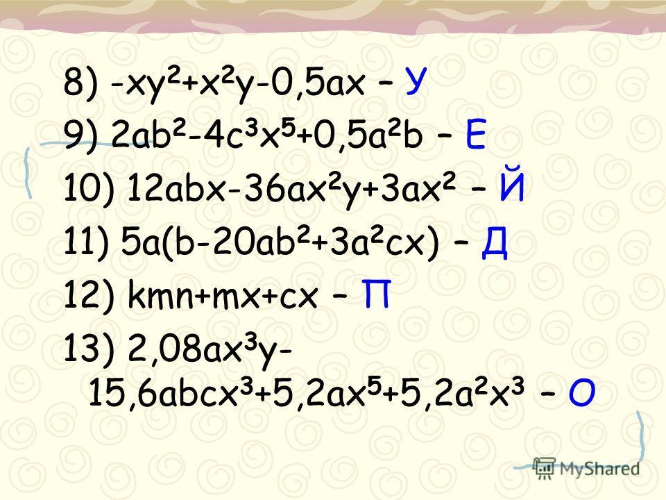 8) -xy 2 +x 2 y-0,5ax – У 9) 2ab 2 -4c 3 x 5 +0,5a 2 b – Е 10) 12abx-36ax 2 y+3ax 2 – Й 11) 5a(b-20ab 2 +3a 2 cx) – Д 12) kmn+mx+cx – П 13) 2,08ax 3 y- 15,6abcx 3 +5,2ax 5 +5,2a 2 x 3 – О