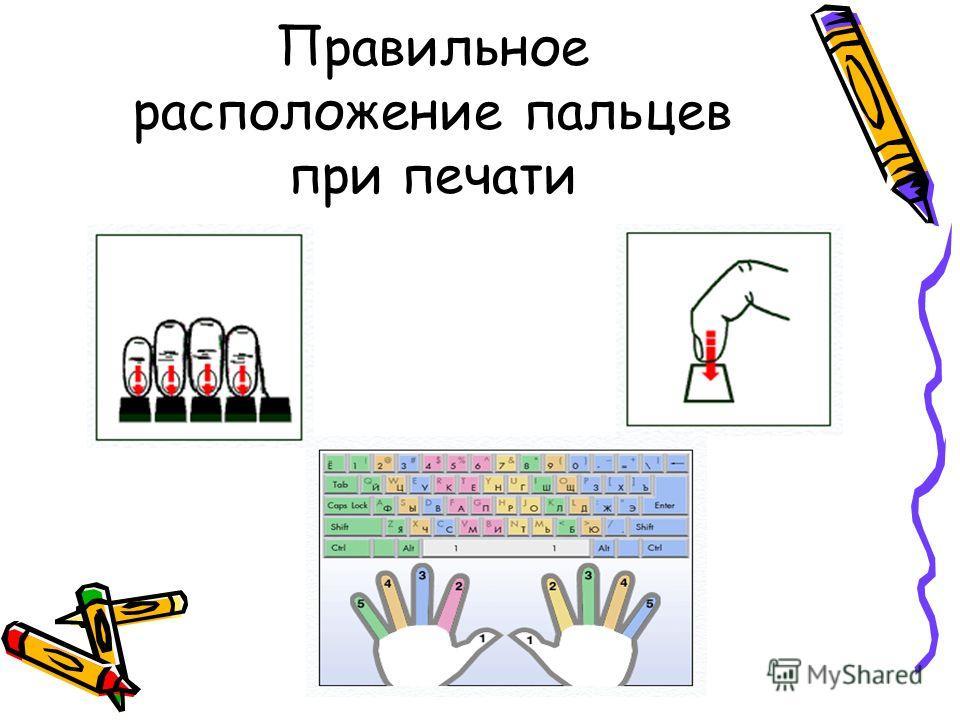 Правильное расположение пальцев при печати