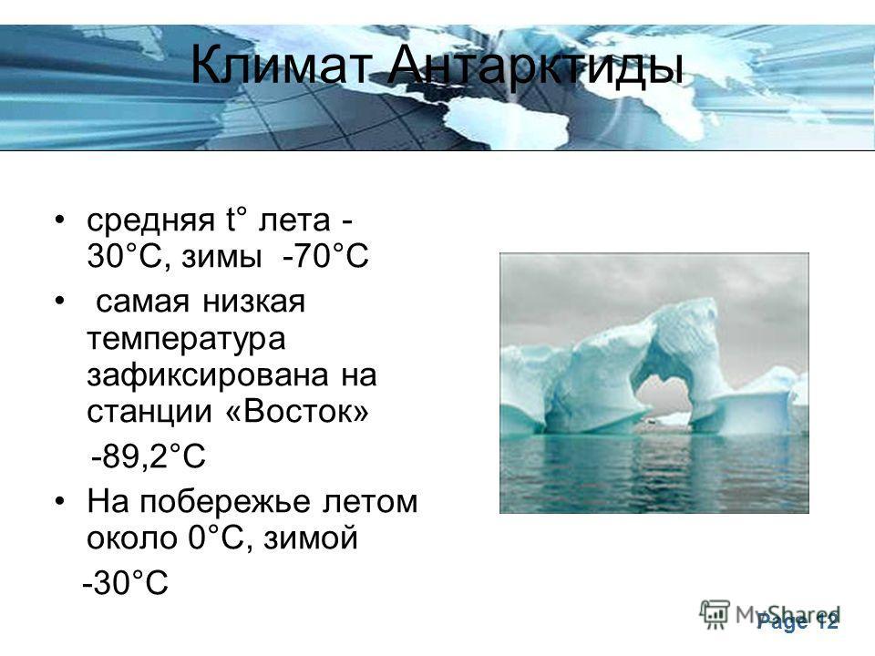 Page 12 Климат Антарктиды средняя t° лета - 30°С, зимы -70°С самая низкая температура зафиксирована на станции «Восток» -89,2°С На побережье летом около 0°С, зимой -30°С