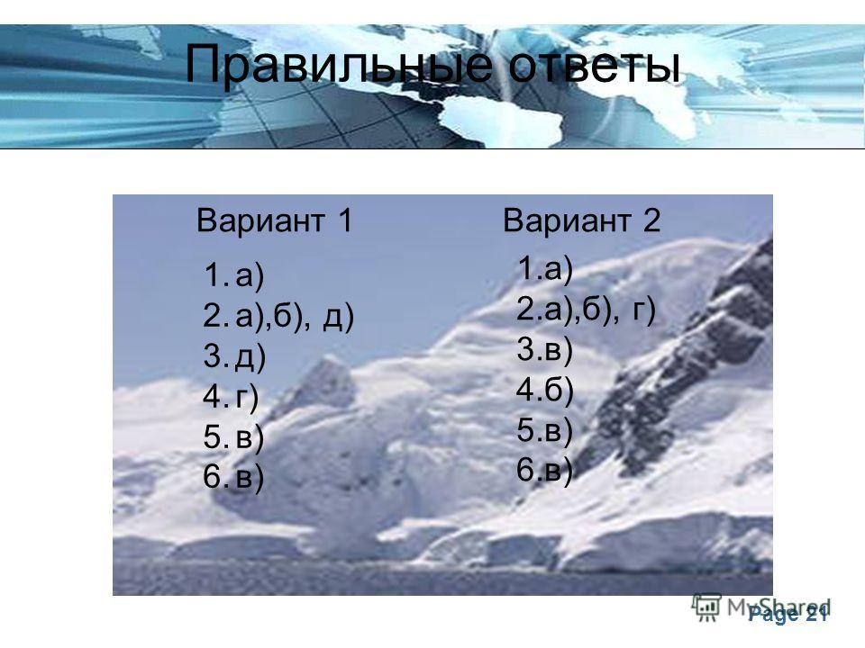 Page 21 Правильные ответы Вариант 1Вариант 2 1.а) 2.а),б), д) 3.д) 4.г) 5.в) 6.в) 1.а) 2.а),б), г) 3.в) 4.б) 5.в) 6.в)