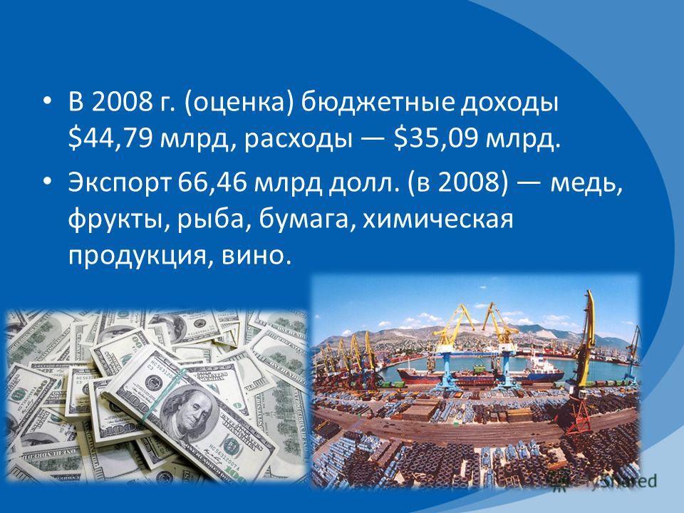 В 2008 г. (оценка) бюджетные доходы $44,79 млрд, расходы $35,09 млрд. Экспорт 66,46 млрд долл. (в 2008) медь, фрукты, рыба, бумага, химическая продукция, вино.