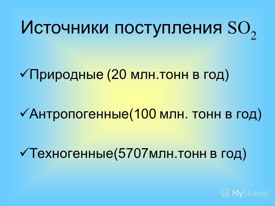 Природные (20 млн.тонн в год) Антропогенные(100 млн. тонн в год) Техногенные(5707млн.тонн в год) Источники поступления SO 2