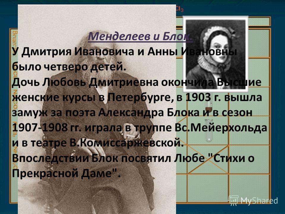 Менделеев и Блок. У Дмитрия Ивановича и Анны Ивановны было четверо детей. Дочь Любовь Дмитриевна окончила Высшие женские курсы в Петербурге, в 1903 г. вышла замуж за поэта Александра Блока и в сезон 1907-1908 гг. играла в труппе Вс.Мейерхольда и в те