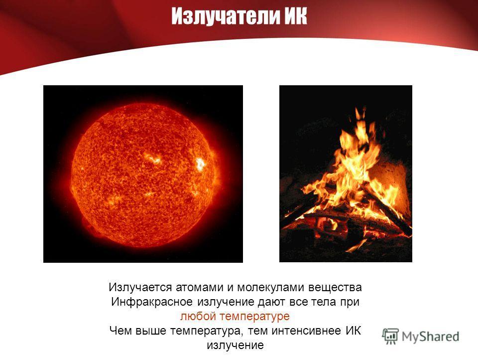 Излучатели ИК Излучается атомами и молекулами вещества Инфракрасное излучение дают все тела при любой температуре Чем выше температура, тем интенсивнее ИК излучение