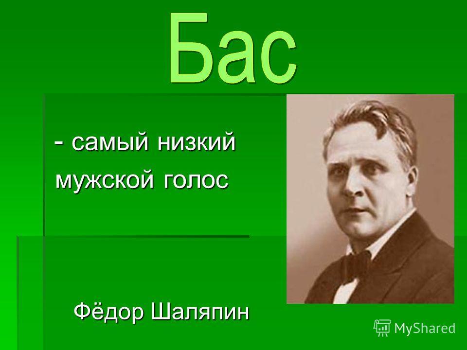 - самый низкий - самый низкий мужской голос мужской голос Фёдор Шаляпин Фёдор Шаляпин