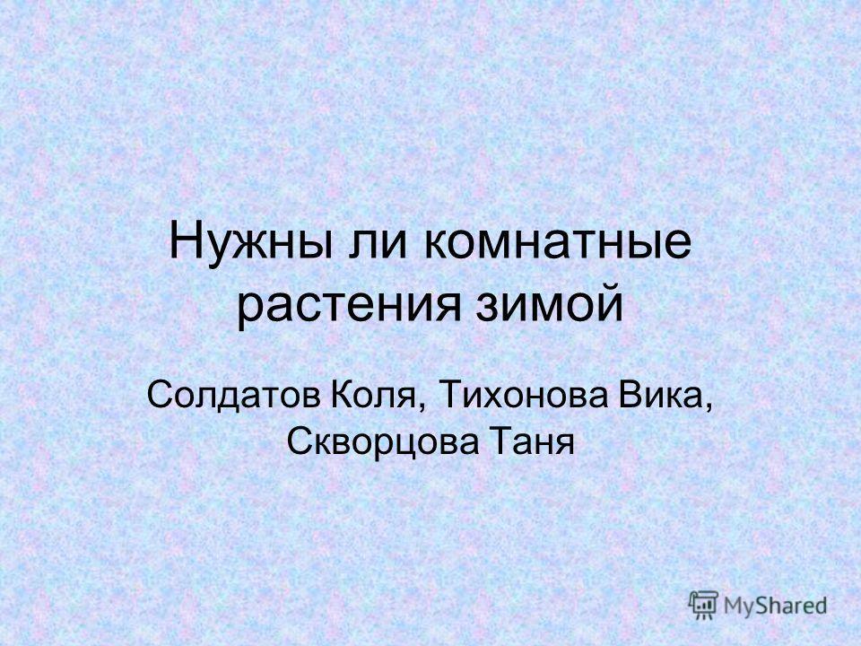 Нужны ли комнатные растения зимой Солдатов Коля, Тихонова Вика, Скворцова Таня