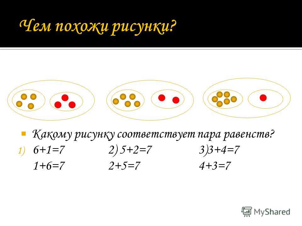 Какому рисунку соответствует пара равенств? 1) 6+1=72) 5+2=73)3+4=7 1+6=72+5=74+3=7