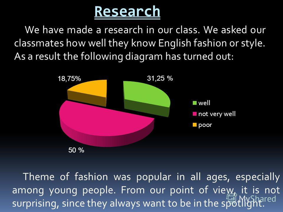 Research We have made a research in our class. We asked our classmates how well they know English fashion or style. As a result the following diagram has turned out: Theme of fashion was popular in all ages, especially among young people. From our po