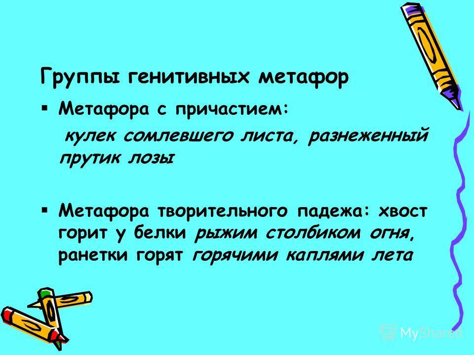 Группы генитивных метафор Метафора с причастием: кулек сомлевшего листа, разнеженный прутик лозы Метафора творительного падежа: хвост горит у белки рыжим столбиком огня, ранетки горят горячими каплями лета