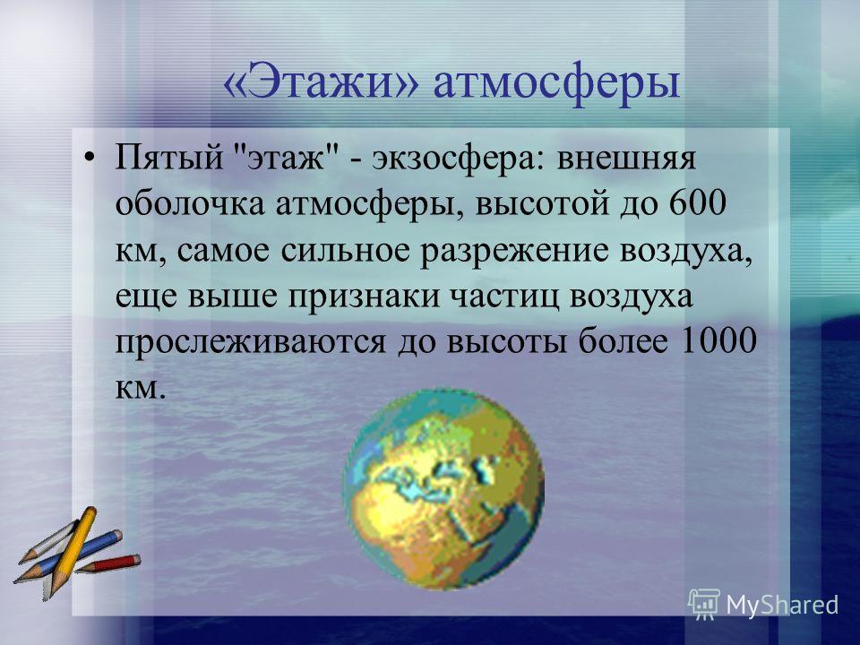 «Этажи» атмосферы Пятый этаж - экзосфера: внешняя оболочка атмосферы, высотой до 600 км, самое сильное разрежение воздуха, еще выше признаки частиц воздуха прослеживаются до высоты более 1000 км.