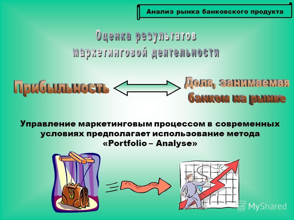 Анализ рынка банковского продукта Управление маркетинговым процессом в современных условиях предполагает использование метода «Portfolio – Analyse»