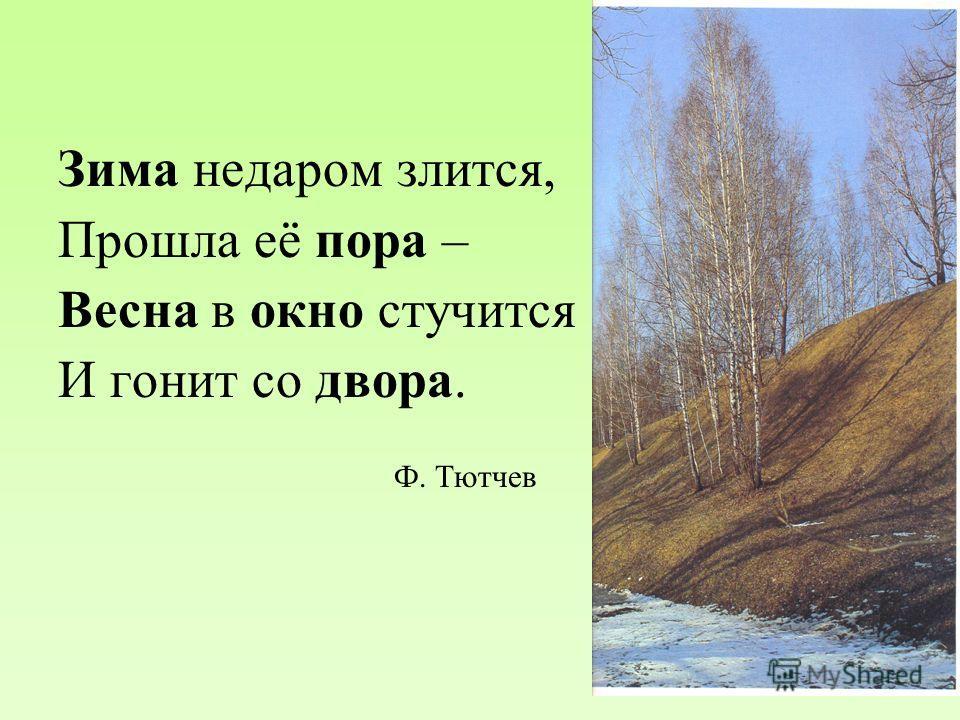 Зима недаром злится, Прошла её пора – Весна в окно стучится И гонит со двора. Ф. Тютчев