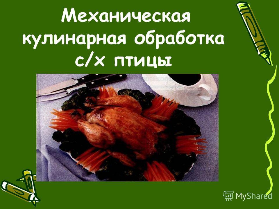 Механическая кулинарная обработка с/х птицы