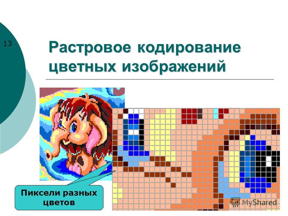 Растровое кодирование цветных изображений Пиксели разных цветов 13