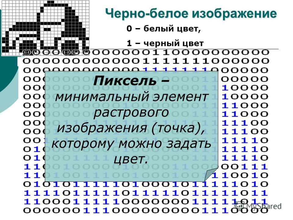 5 Черно-белое изображение 0 – белый цвет, 1 – черный цвет Пиксель – минимальный элемент растрового изображения (точка), которому можно задать цвет.