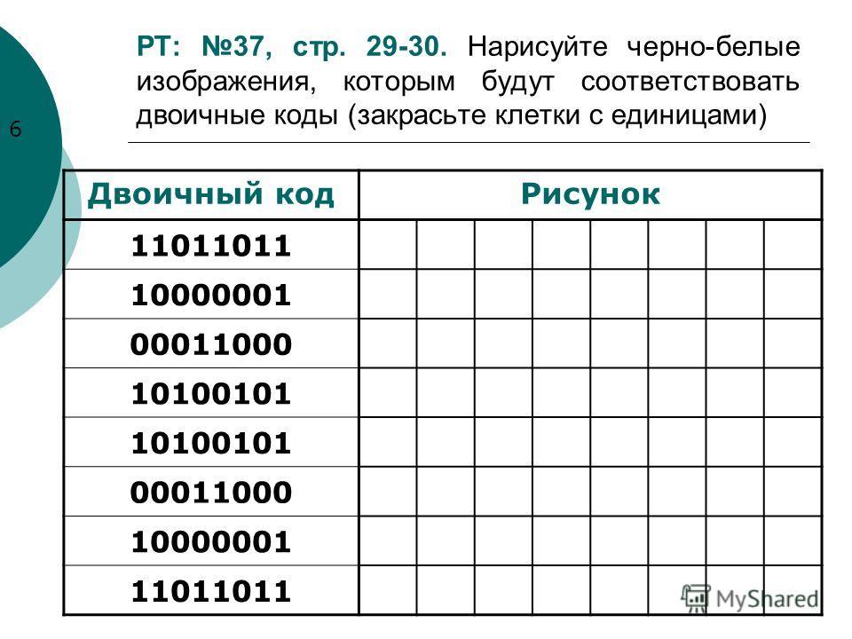 РТ: 37, стр. 29-30. Нарисуйте черно-белые изображения, которым будут соответствовать двоичные коды (закрасьте клетки с единицами) Двоичный кодРисунок 11011011 10000001 00011000 10100101 00011000 10000001 11011011 6