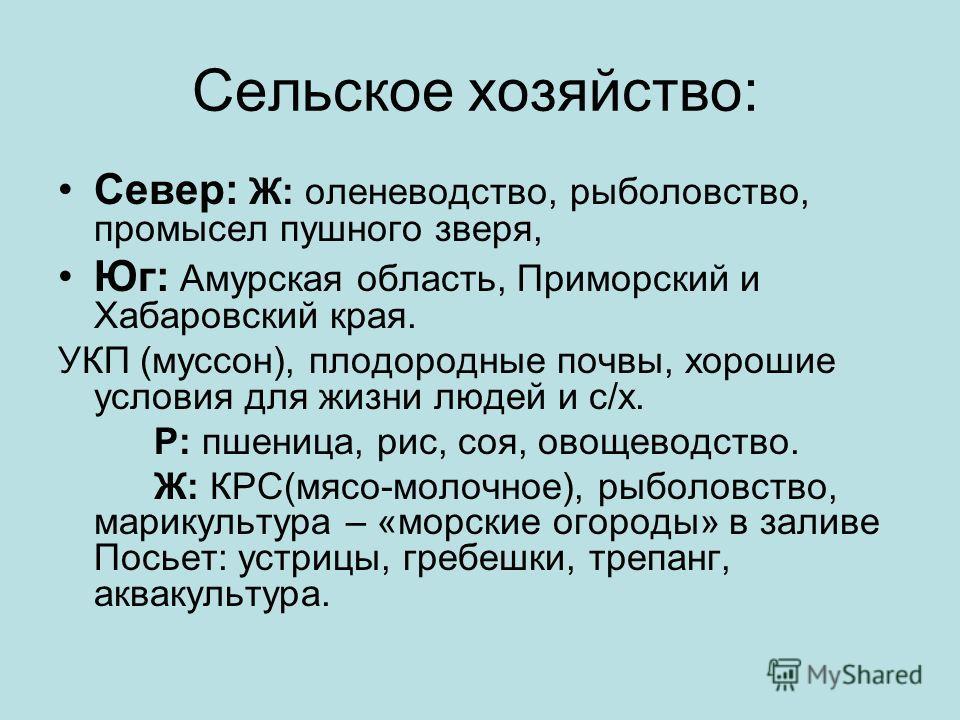 Промышленность – основа экономики: Рыбная: «рыбный цех страны»: Южно-Сахалинск, Петропавловск-Камчатский, Владивосток Горнодобывающая Лесная и лесоперерабатывающая: Хабаровск, о. Сахалин(ЦБП) М/с: судостроение: Комсомольск-на-Амуре Цветная металлурги