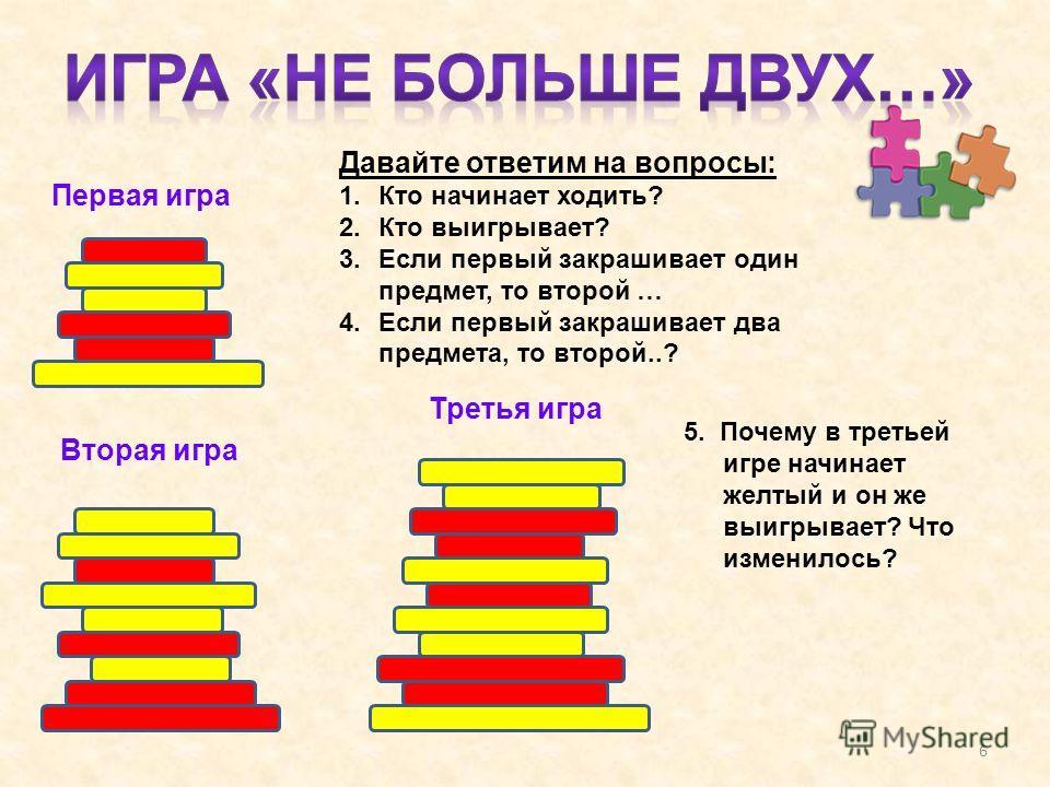 Первая игра Давайте ответим на вопросы: 1.Кто начинает ходить? 2.Кто выигрывает? 3.Если первый закрашивает один предмет, то второй … 4.Если первый закрашивает два предмета, то второй..? Вторая игра Третья игра 5. Почему в третьей игре начинает желтый
