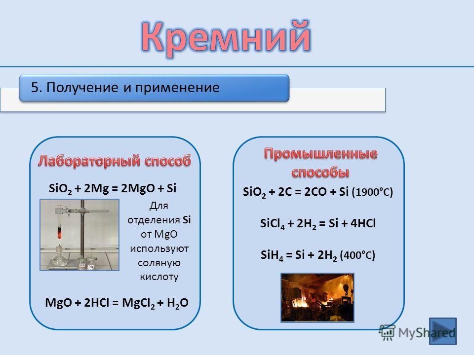 4. Химические свойства 4Na + Si = Na 4 Si (сплавление) 2Mg + Si = Mg 2 Si (сплавление) 2Ca + Si = Ca 2 Si (сплавление) Si + 2F 2 = SiF 4 Si + 2Cl 2 = SiCl 4 (340°C – 420°C) Si + O 2 = SiO 2 (1200°C – 1300°C) Si + C = SiC (1200°C – 1300°C) Si + 2NaOH
