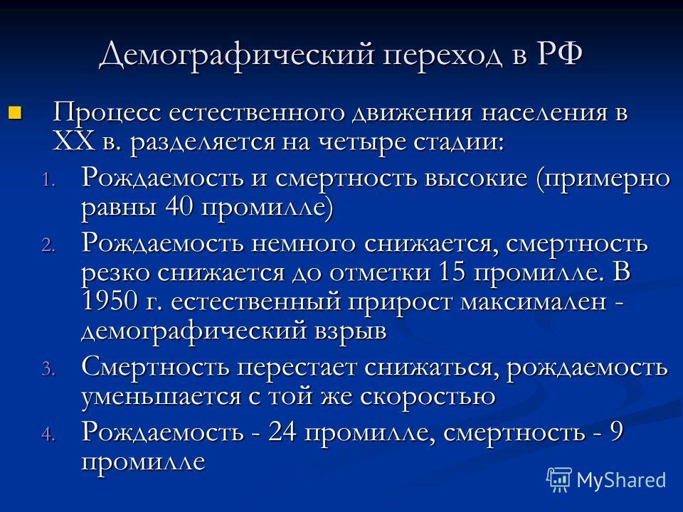 Демографический переход в РФ Процесс естественного движения населения в XX в. разделяется на четыре стадии: Процесс естественного движения населения в XX в. разделяется на четыре стадии: 1. Рождаемость и смертность высокие (примерно равны 40 промилле