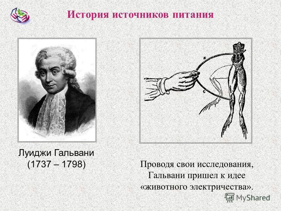 Луиджи Гальвани (1737 – 1798) История источников питания Проводя свои исследования, Гальвани пришел к идее «животного электричества».