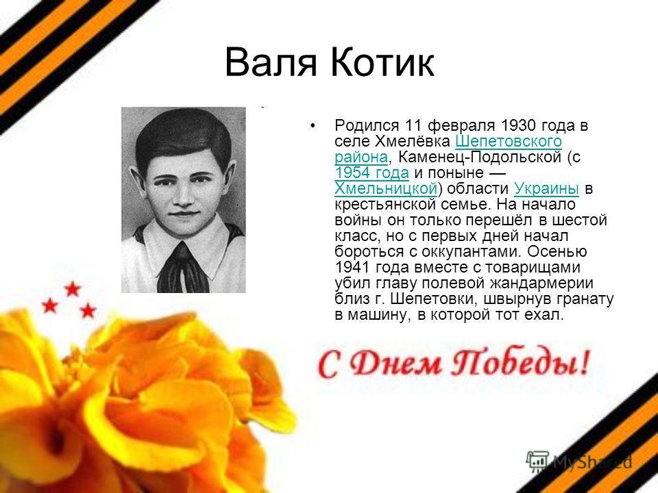 Валя Котик Родился 11 февраля 1930 года в селе Хмелёвка Шепетовского района, Каменец-Подольской (с 1954 года и поныне Хмельницкой) области Украины в крестьянской семье. На начало войны он только перешёл в шестой класс, но с первых дней начал бороться