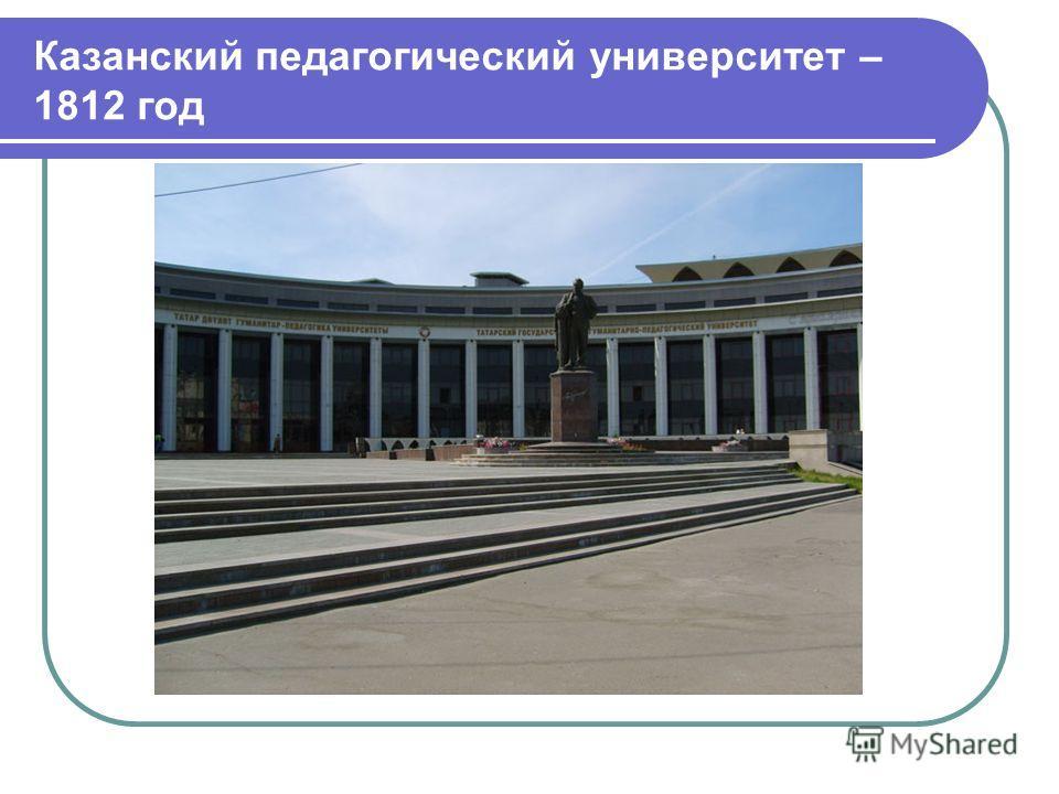 Казанский педагогический университет – 1812 год