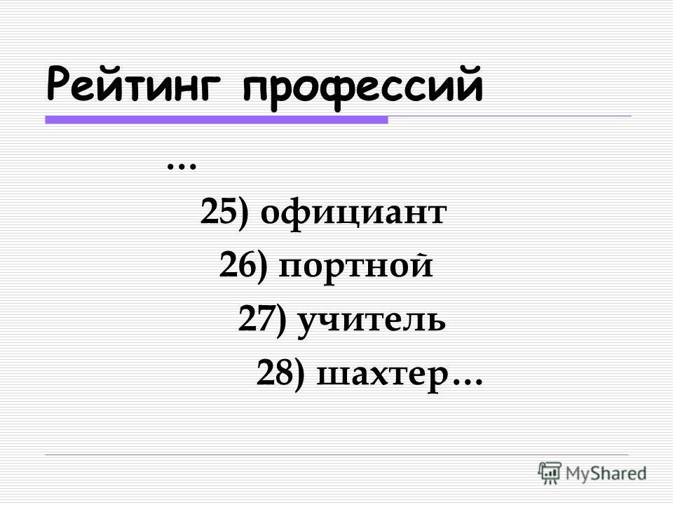 Рейтинг профессий … 25) официант 26) портной 27) учитель 28) шахтер…