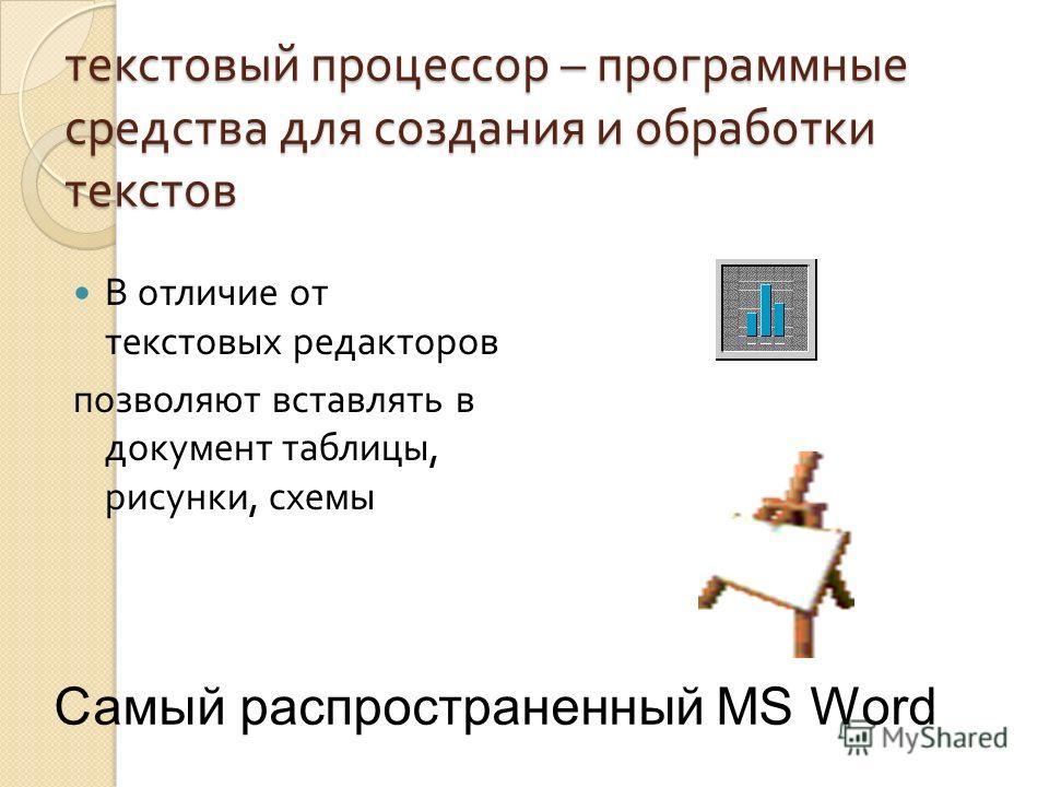 текстовый процессор – программные средства для создания и обработки текстов В отличие от текстовых редакторов позволяют вставлять в документ таблицы, рисунки, схемы Самый распространенный MS Word