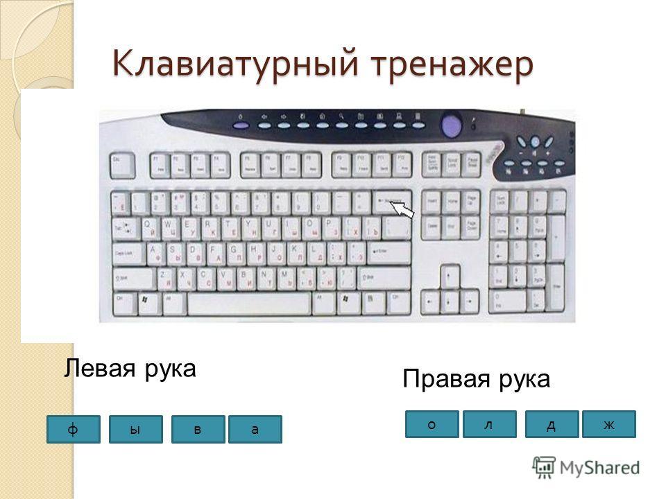 Клавиатурный тренажер Левая рука Правая рука фыва ждло