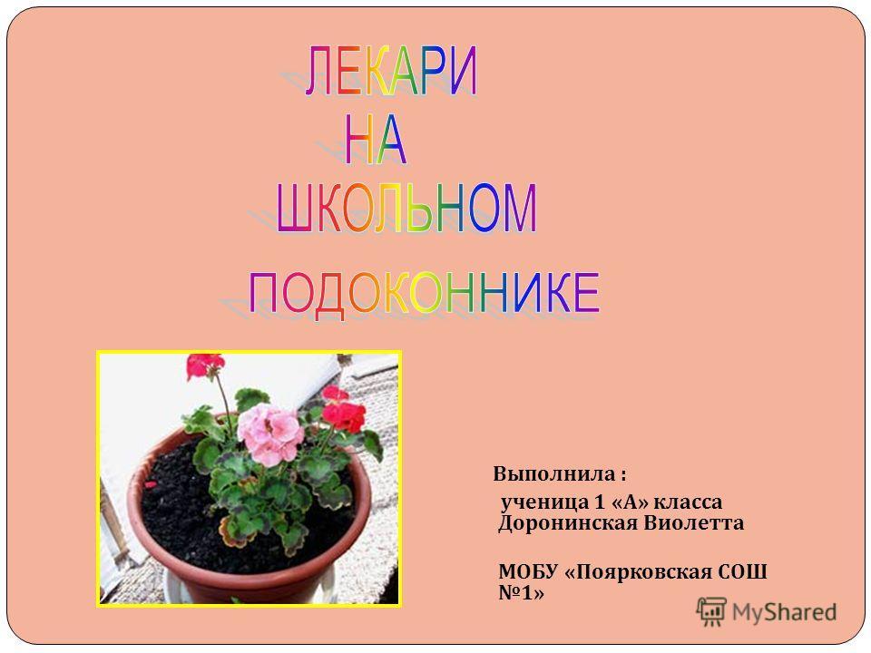Выполнила : ученица 1 « А » класса Доронинская Виолетта МОБУ « Поярковская СОШ 1»