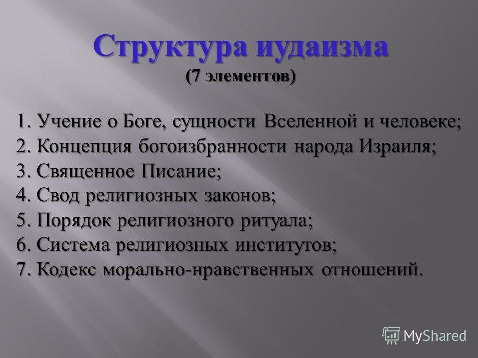 Структура иудаизма (7 элементов ) 1. Учение о Боге, сущности Вселенной и человеке ; 2. Концепция богоизбранности народа Израиля ; 3. Священное Писание ; 4. Свод религиозных законов ; 5. Порядок религиозного ритуала ; 6. Система религиозных институтов