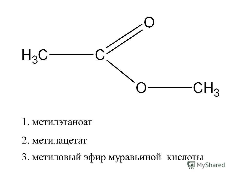 2. метилацетат 1. метилэтаноат 3. метиловый эфир муравьиной кислоты