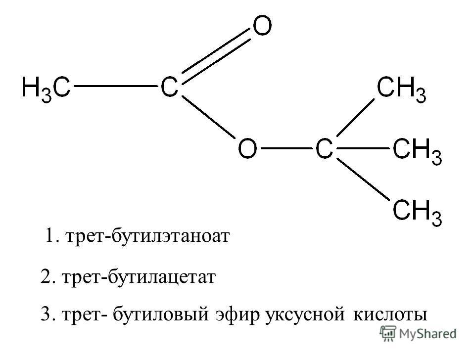 2. трет-бутилацетат 1. трет-бутилэтаноат 3. трет- бутиловый эфир уксусной кислоты