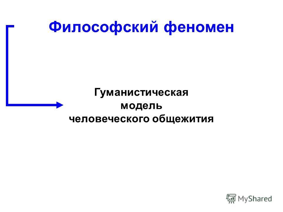 Гуманистическая модель человеческого общежития Философский феномен