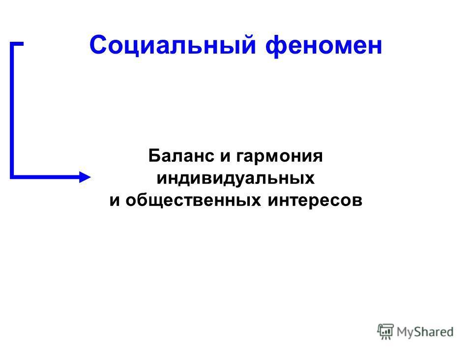 Баланс и гармония индивидуальных и общественных интересов Социальный феномен