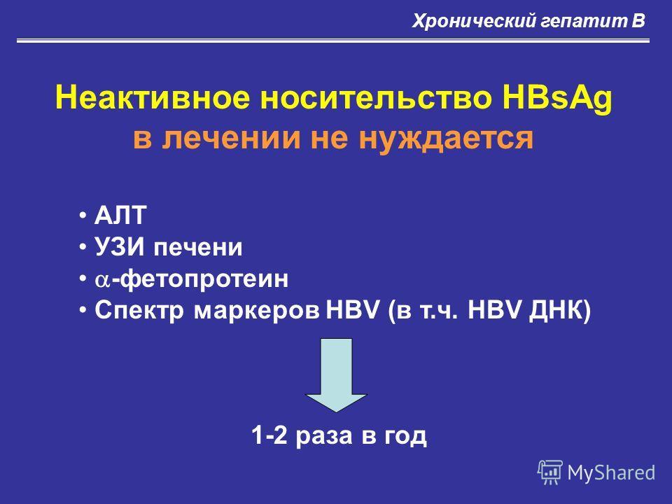 Неактивное носительство HBsAg в лечении не нуждается АЛТ УЗИ печени -фетопротеин Спектр маркеров HBV (в т.ч. HBV ДНК) 1-2 раза в год Хронический гепатит В