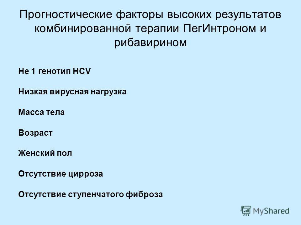 Прогностические факторы высоких результатов комбинированной терапии ПегИнтроном и рибавирином Не 1 генотип HCV Низкая вирусная нагрузка Масса тела Возраст Женский пол Отсутствие цирроза Отсутствие ступенчатого фиброза