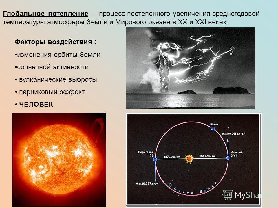 Глобальное потепление процесс постепенного увеличения среднегодовой температуры атмосферы Земли и Мирового океана в XX и XXI веках. Факторы воздействия : изменения орбиты Земли солнечной активности вулканические выбросы парниковый эффект ЧЕЛОВЕК