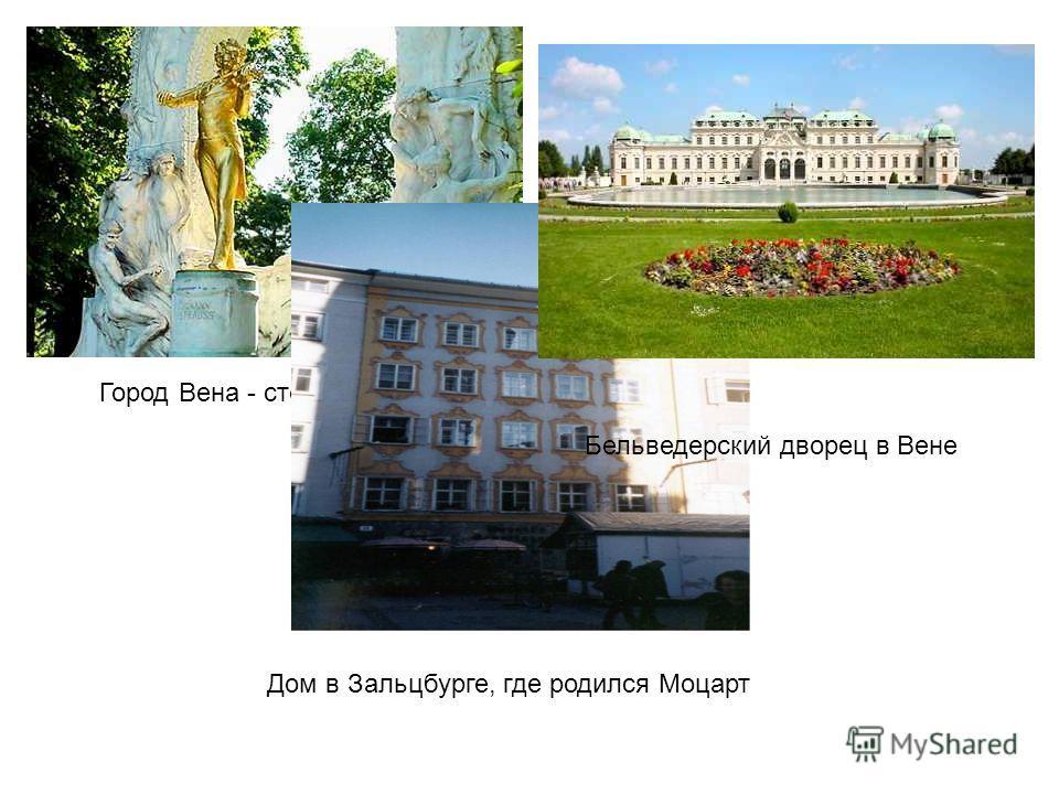 Город Вена - столица Австрии Дом в Зальцбурге, где родился Моцарт Бельведерский дворец в Вене