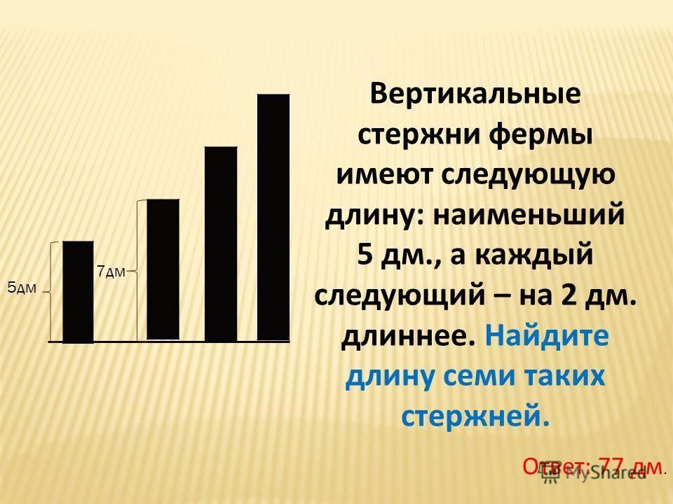 Вертикальные стержни фермы имеют следующую длину: наименьший 5 дм., а каждый следующий – на 2 дм. длиннее. Найдите длину семи таких стержней. Ответ: 77 дм. 5дм 7дм
