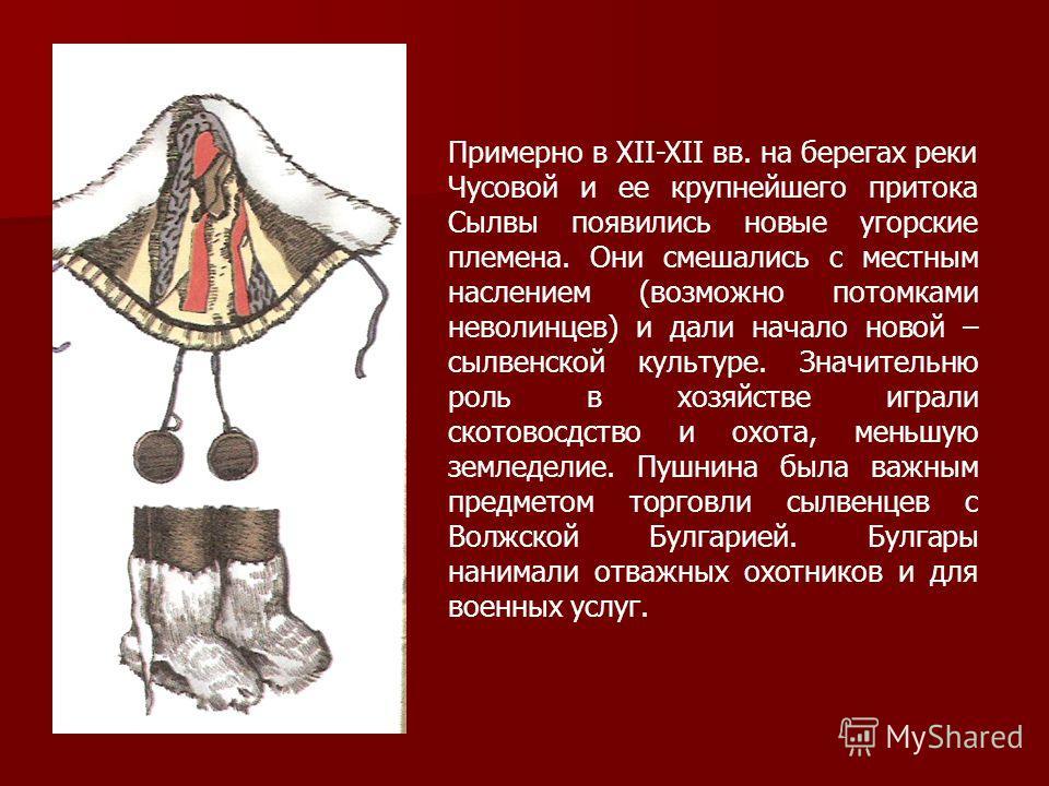 Примерно в XII-XII вв. на берегах реки Чусовой и ее крупнейшего притока Сылвы появились новые угорские племена. Они смешались с местным наслением (возможно потомками неволинцев) и дали начало новой – сылвенской культуре. Значительню роль в хозяйстве