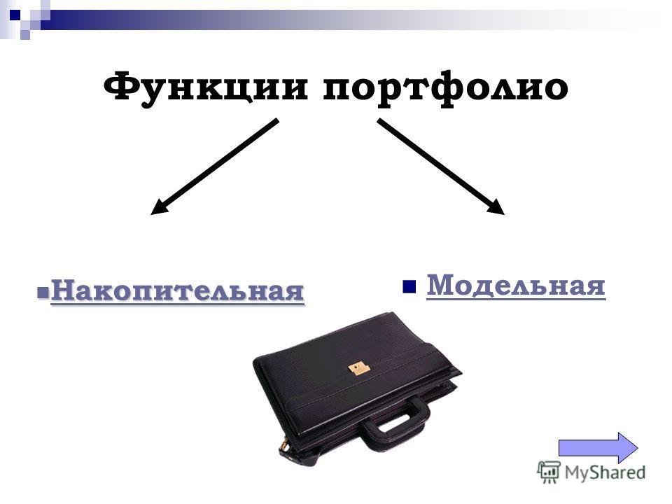 Функции портфолио Модельная Накопительная Накопительная Накопительная