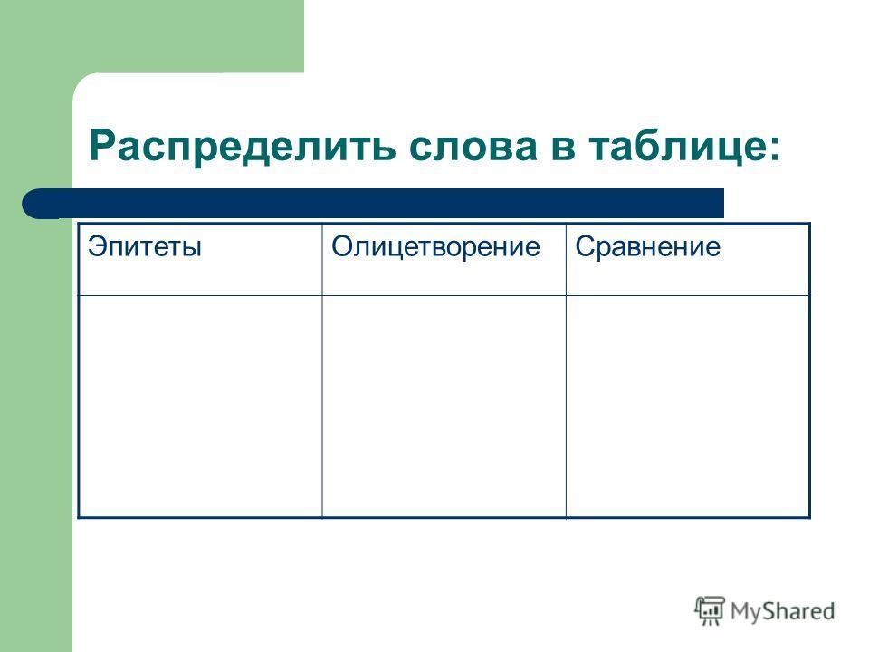 Распределить слова в таблице: ЭпитетыОлицетворениеСравнение
