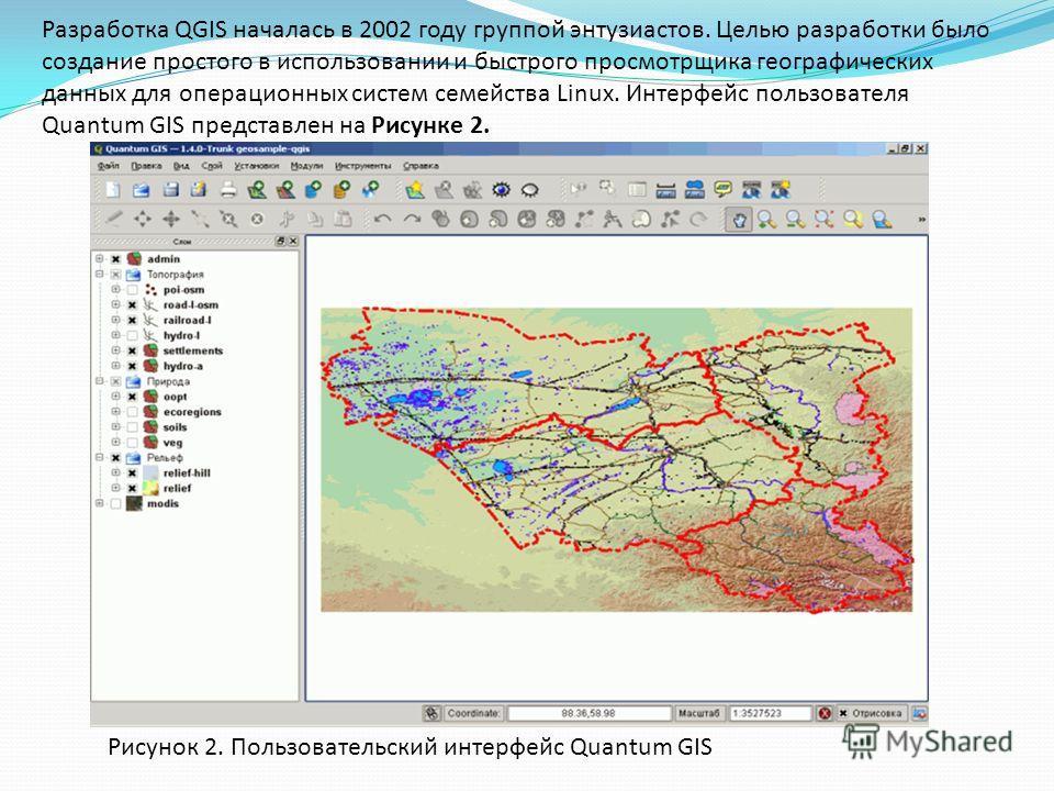 Разработка QGIS началась в 2002 году группой энтузиастов. Целью разработки было создание простого в использовании и быстрого просмотрщика географических данных для операционных систем семейства Linux. Интерфейс пользователя Quantum GIS представлен на